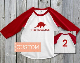 Personalized dinosaur birthday shirt, Personalized Dinosaur Raglan Shirt, Second Birthday Outfit, 2nd Birthday Shirt, Toddler Shirt