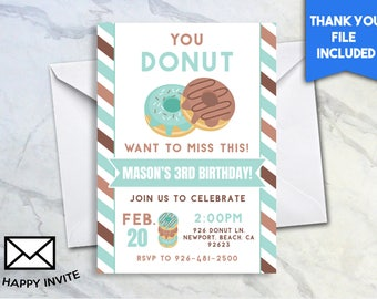 Donut Birthday 5x7 Digital Personalized Digital File Donut Party Invitation Stripes You Donut Want To Miss This Sweet Sugar #62.0