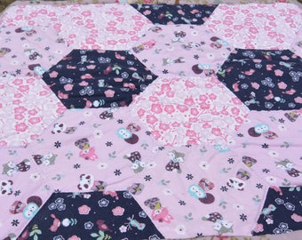 Pink and Purple Hexagon Baby Quilt