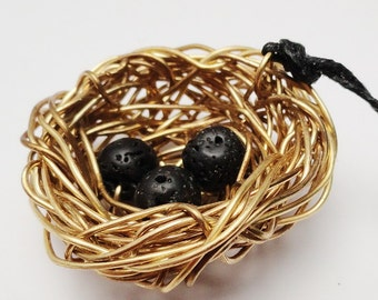Mother's Day Necklace, Dragon Nest with Lava Bead Black Eggs, Mother's Necklace LAVA, Wire