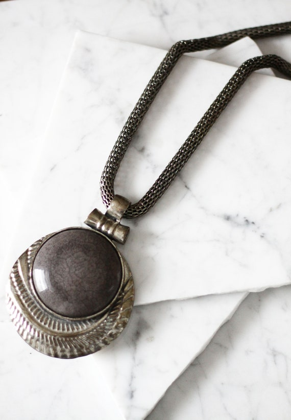 1980s large silver pendant necklace// 1980s boho necklace // vintage jewellery