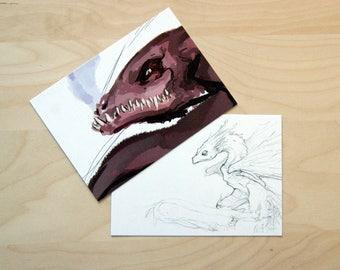 Dragon themed Postcards, A6.