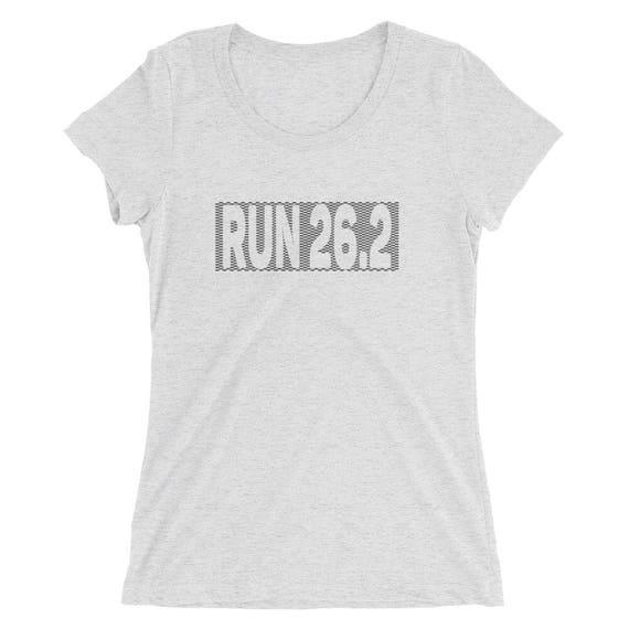Women's Checkered Run 26.2 TriBlend T-Shirt - Marathon T-Shirt - Women's Short Sleeve Running Shirt