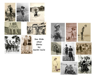 Sea Side Snapshot digital collage set