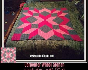 Carpenter Wheel Afghan 2, C2C Graph, Written Row by Row Word Chart