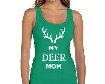 My Deer Mom Reindeer Antlers Christmas Women Tank Top