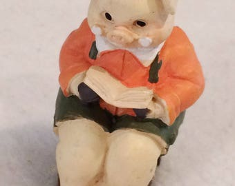 "Vintage Miniature 1 3/4""  1991 Pig Reading Book on Stool Resin Figurine by J.C.  Cake Topper"