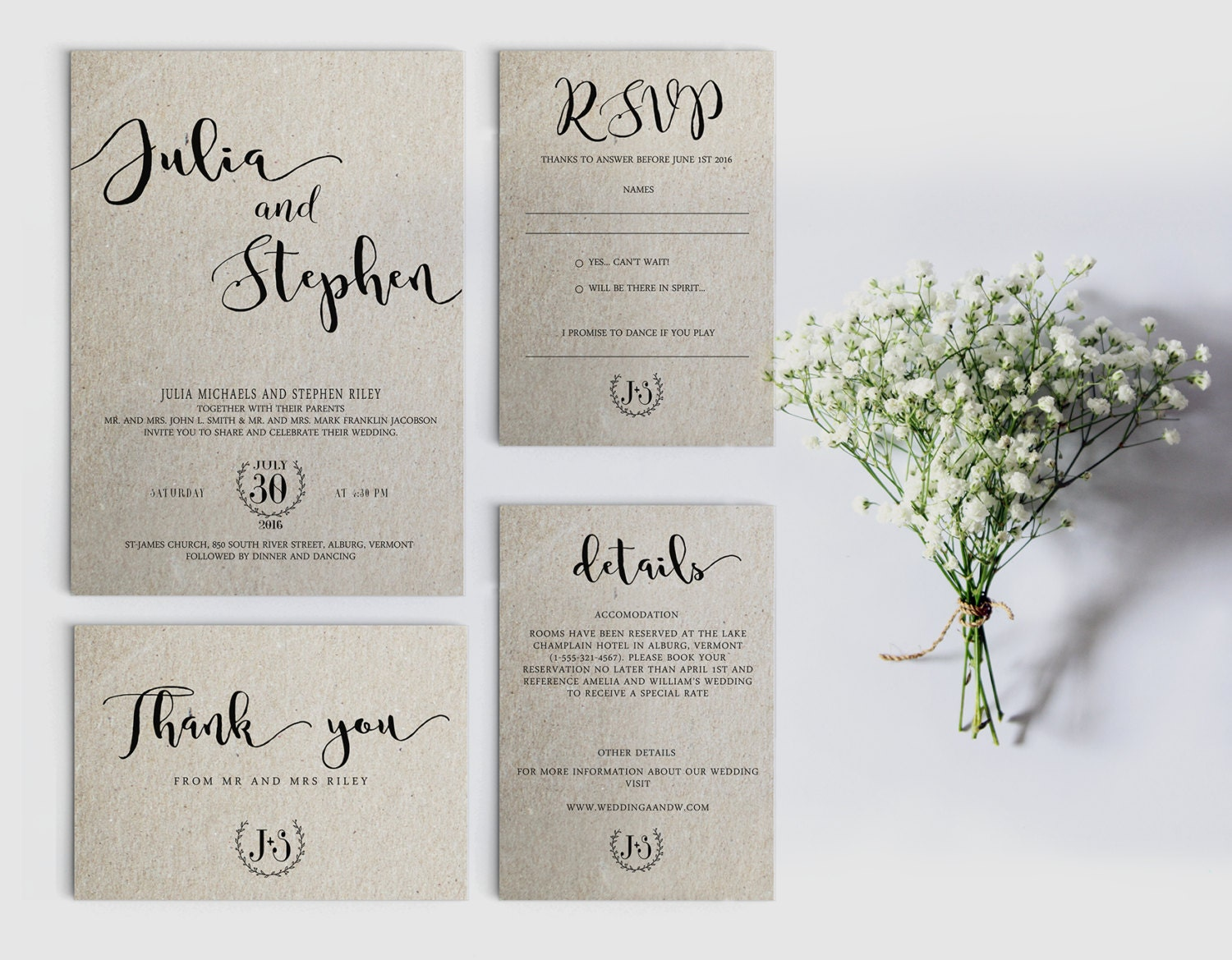 Printable Wedding Invitation Sets: Digital Wedding Invitation Printable Wedding Invitation Set