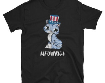 MEOWRICA, 4th of July, Cat Shirt, Patriotic, USA, Uncle Sam, American Flag, Cute Kitten, Funny Cat, Meowica, Merica, Murica, Fourth Of July