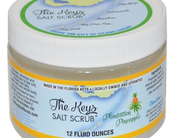 Plantation Pineapple Salt Scrub– 12oz, Handmade in the Florida Keys