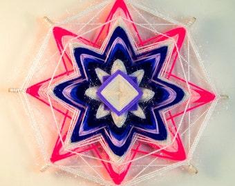 Handmade woven yarn mandala ~ god's eye, ojos de dios, the eye of god, pink mandala, white mandala, OOAK_snowflake decor