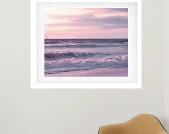 Framed photography, framed photo print, lavender pink sunset ocean framed wall art, matted framed art print, beach framed picture wall decor