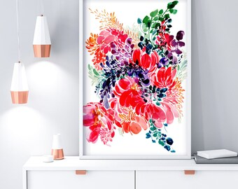 Floral Large Painting. Watercolor Floral Poster. Gift for Mom. Peony Poster. Floral Composition. Pink Wall Poster. Extra Large Wall Art.