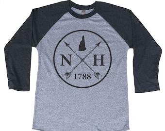 Homeland Tees New Hamphire Arrow Tri-Blend Raglan Baseball Shirt