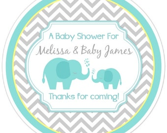 Mod Elephant Baby Shower Stickers, Chevron Elephant Baby Shower Labels, Elephant Stickers, Teal and Yellow