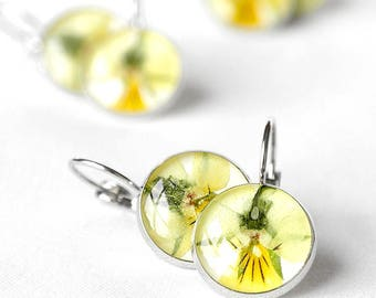 Flowers jewelry Yellow pansy earrings Unique yellow earrings for birthday mother daughter gift Love gift Eco friendly earrings for daughter