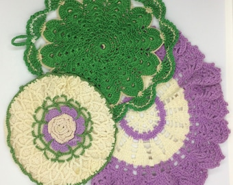 Vintage Handmade Purple and Green Doilies Hot Pads