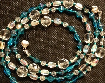 Beaded Eyeglasses/Chain/Lanyard - Crystal Clear Glass