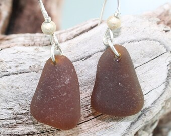 PEI Brown sea glass earrings