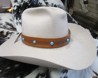 Handmade Leather Hat Band, Tooled Brown Leather Hat Band with Turquoise Dome Spots, Adjustable Hat Band, SASS Hat Band