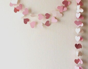 Pink Wedding Garland  Backdrop Engagement party Pink heart garland Girl baby shower nursery decor Girl Birthday Party dusty rose garland