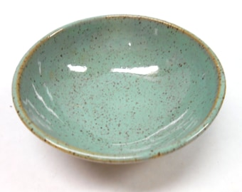 Pottery Salt Bowl, Small Ceramic Bowl, Turquoise Ring Dish, Trinket Bowl, Nut Bowl, Ceramic Ring Dish, in Speckled Turquoise