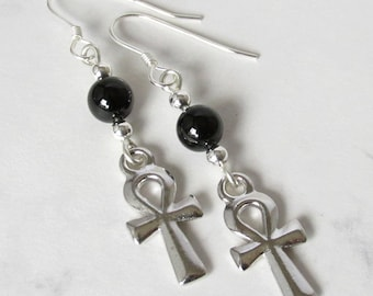 Egyptian Ankh and Black Onyx Earrings, Sterling Silver Beads, Sterling Silver Earwires