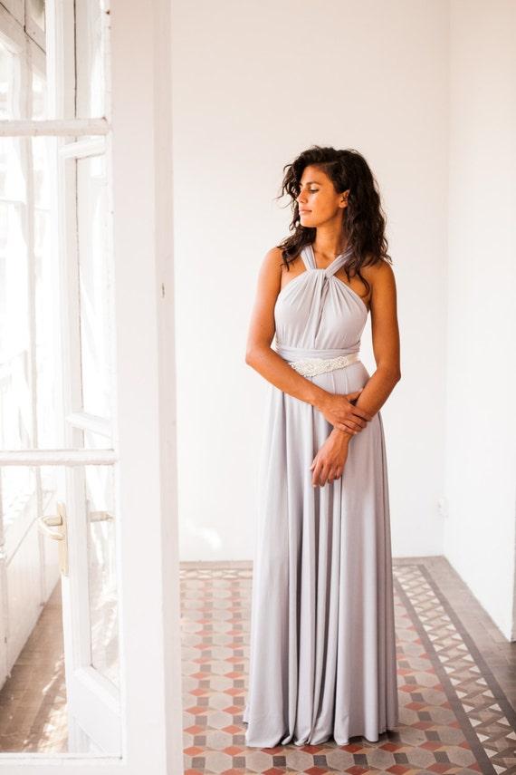 Long Light Gray Dress Bridesmaid Pearl Multi Way Grey