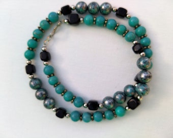 Turquoise Magnesite, Blackstone and Silver Beaded Necklace