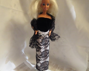 Handmade Barbie clothes - Black and white elegance, long skirt and bodice outfit