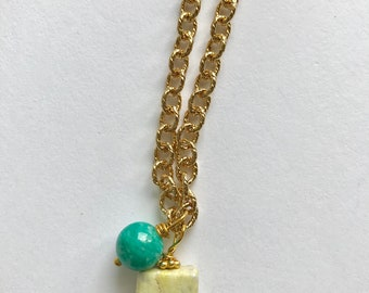Amazonite, yellow jasper gold fill necklace, lilyb444, Gifts for her, jewelry,
