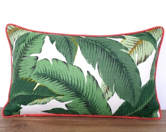 Swaying palm leaf pillow cover in outdoor fabric, dark green and coral outdoor cushion, tropical pillow palm leaf, Palm Beach decor