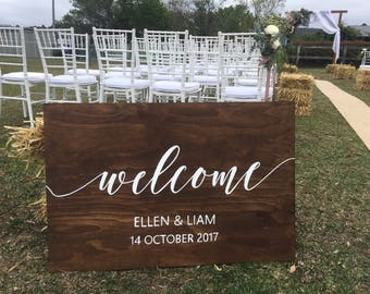 Welcome wedding Sign | Wooden wedding sign | Personalised wooden sign | Rustic Wedding Sign | Custom sign | Signed by Row
