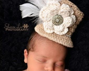 Mini top hat, baby fascinator, baby top hat, girl top hat, mad hatter, top hat photo prop, crochet tiny hat, baby photo prop