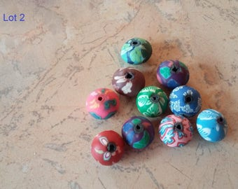 12mm with multicolored flowers mid round polymer clay beads