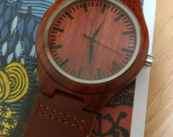 Red/brown Eco Bamboo Leather Watch