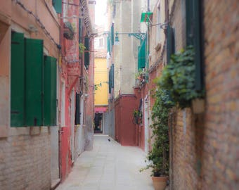 Venice, Italy, Streets of Venice, Italy Photography, Green Shutters, Alleyways, Narrow Streets, Brick Buildings, Ancient Architecture