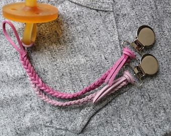 A Timeless Tot's Suede Pacifier Clip - Hues of Pink