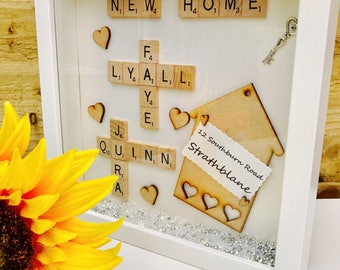 New Home Scrabble Frame, First Home Scrabble Gift, Scrabble Gift, Scrabble Letters Gift, Scrabble Home Sweet Home Gift Frame, New Home Frame