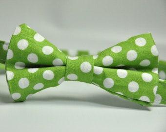 Boy's Bowtie - Green and White Polka Dot Bow Tie