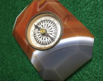 Vintage Agate Stone Table  Compass Paper Weight