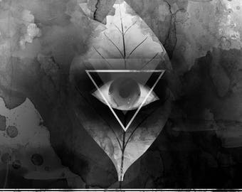 """Black and white digital illustration """"Clairvoyance"""" featuring all-seeing eye on a leaf with geometric details."""