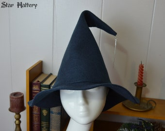 Witch Hat, Wizard Hat - Chic Blue - Sorcerer, mage, fantasy, cosplay, larp, Harry Potter - Dark blue