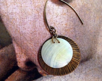 """""""Eclipse"""", mother of Pearl disc and brass Earrings"""