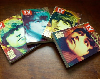 Collectible Beatles Set of 4 TV Guide 4 Issues of Magazine Lennon Starr McCartney Harrison Rock n Roll The Beatles