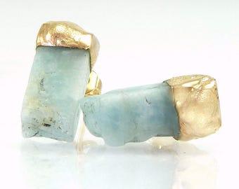 Raw Aquamarine Earrings, Gift, Aquamarine Stud Earrings, Raw Aquamarine studs, March  Birthstone, Gold Aquamarine Studs, Raw Stone Jewelry.