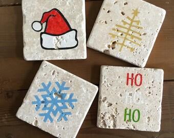 Holiday Tumbled Stone Coasters (Set of 4)