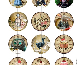 "1"" Inch Mad Tea Party Clock Flatback Buttons, Pin, or Magnets 12 Ct. Set A"