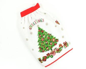 Vintage Christmas Apron - Greetings w/ Xmas Tree, Shiny Brites Presents Stockings, Snowflakes - Red Green Gold Half Apron by Parisian Prints