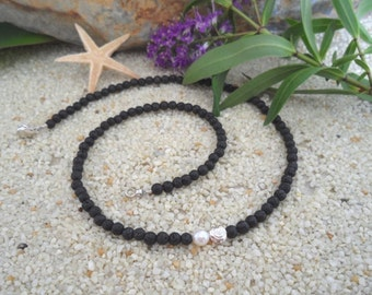 Lava necklace with Pearl & silver spiral (4 mm)